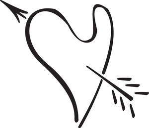 Illustration Of A Heart With Arrow.