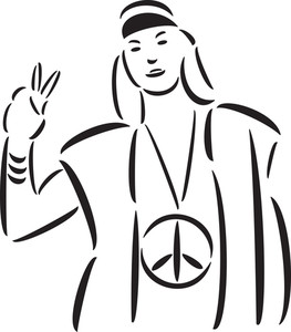Illustration Of A Hippie Lady.