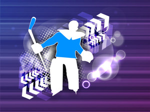 Illustration Of A Hockey Goal Keeper Or Goalie Cheering Up On Blue Abstract Background. Eps 10.