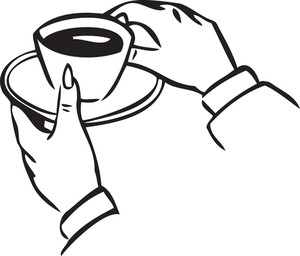 Illustration Of A Human Hand Holding A Cup Of Tea.
