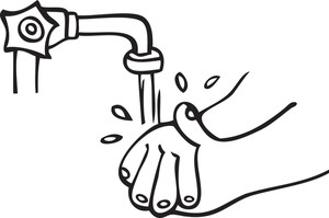 Illustration Of A Human Hand Washing.