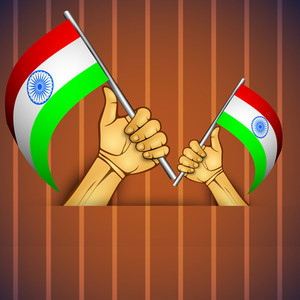 Illustration Of A Human Hand With Indian Flag.
