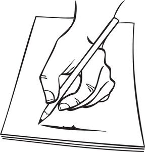Illustration Of A Human Hand With Painting And Pencil.