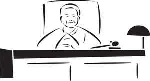 Illustration Of A Judge Sitting On His Seat.