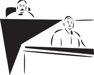 Illustration Of A Judge With Assistant.