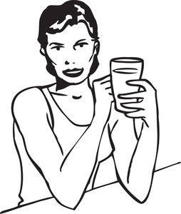 Illustration Of A Lady Drinking.