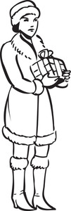 Illustration Of A Lady Holding A Gift.