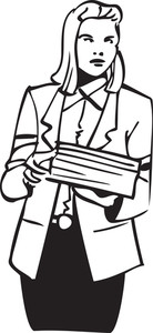 Illustration Of A Lady Holding A Paper.