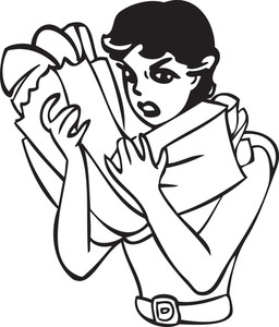 Illustration Of A Lady Holding Shopping Bags.