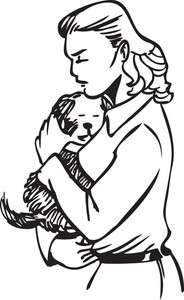 Illustration Of A Lady Hugging A Puppy.