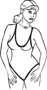 Illustration Of A Lady In Swimming Costume.