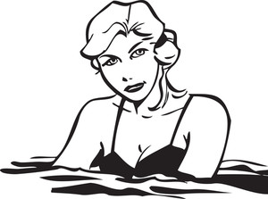 Illustration Of A Lady In Water.