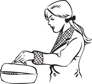 Illustration Of A Lady Opening Lid.