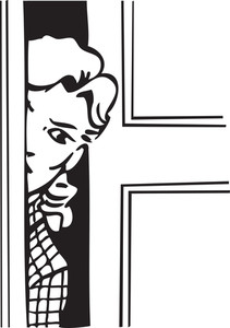 Illustration Of A Lady Peeking Through Door.