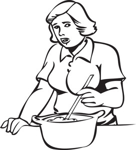 Illustration Of A Lady Preparing Food.