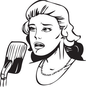 Illustration Of A Lady Singing Song.