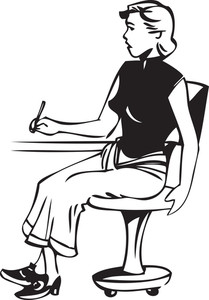 Illustration Of A Lady Sitting On Chair And Holding A Pen.