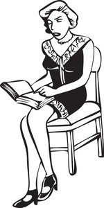 Illustration Of A Lady Sitting On Chair With Book.