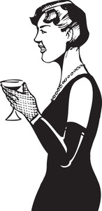 Illustration Of A Lady With Alcohol Glass.