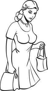 Illustration Of A Lady With Bags.