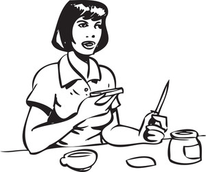 Illustration Of A Lady With Bread And Knife.