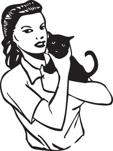 Illustration Of A Lady With Cat.