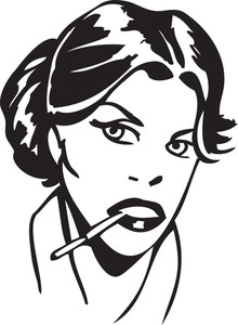 Illustration Of A Lady With Cigarette.