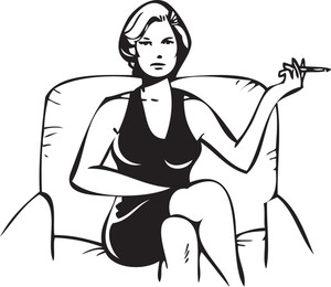 Illustration Of A Lady With Cigrette.