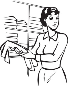 Illustration Of A Lady With Cleaning Rag.