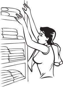 Illustration Of A Lady With Clothes Wardrobe.
