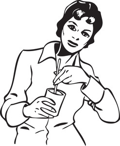 Illustration Of A Lady With Glass And Straw.