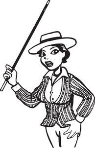 Illustration Of A Lady With Hat And Stick.