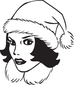 Illustration Of A Lady With Santa Cap.