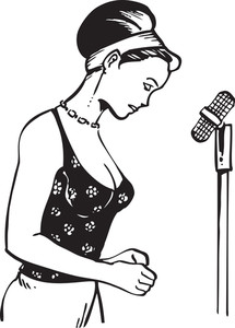 Illustration Of A Lady With Stand Microphone.
