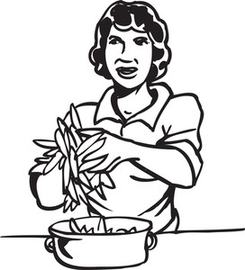 Illustration Of A Lady With Veg.