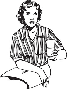 Illustration Of A Lady With Water Glass.