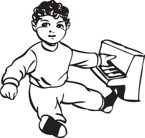 Illustration Of A Little Boy With Piano Toy.