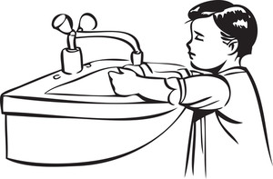 Illustration Of A Little Boy With Washbasin.