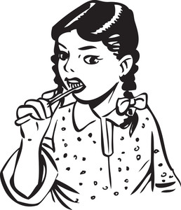 Illustration Of A Little Girl With Tooth Brush.
