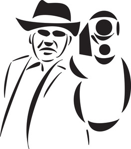 Illustration Of A Mafia Man With Gun.