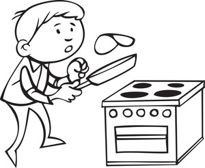 Illustration Of A Man Cooking.