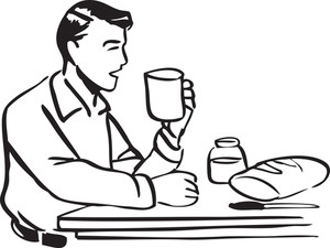 Illustration Of A Man Drinking Alcohol.