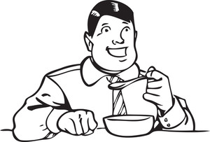 Illustration Of A Man Eating Soup.