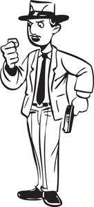 Illustration Of A Man Holding A Gun.