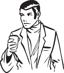 Illustration Of A Man Holding A Mug.