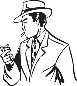 Illustration Of A Man Holding Cigarette And Lighter.
