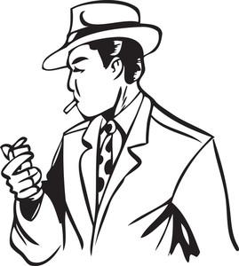 Illustration Of A Man Holding Cigarette And Lighter.
