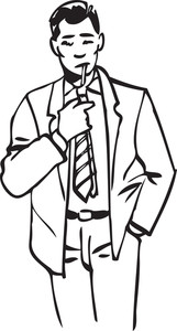 Illustration Of A Man Holding Cigarette.