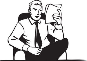 Illustration Of A Man Holding Papers.