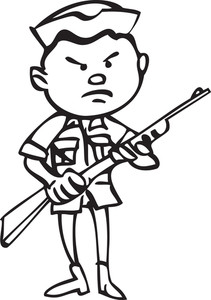 Illustration Of A Man In Uniform Holding A Rifle.